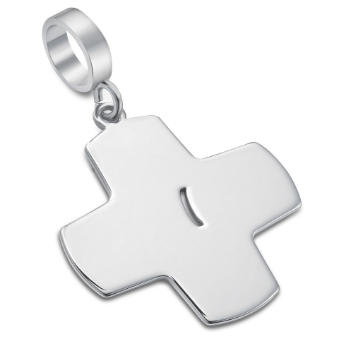Zawieszka krzyż z raną srebrny